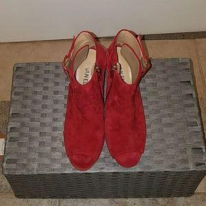 Slingback open toe suede sandal
